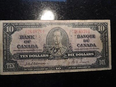 1937 BANK OF CANADA $10 TEN DOLLARS A/D 2649764 OSBORNE TOWERS BC-24a