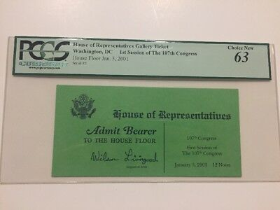 2001 U.S. House of Representatives Opening Day Ticket Pass 107th Congress PCGS