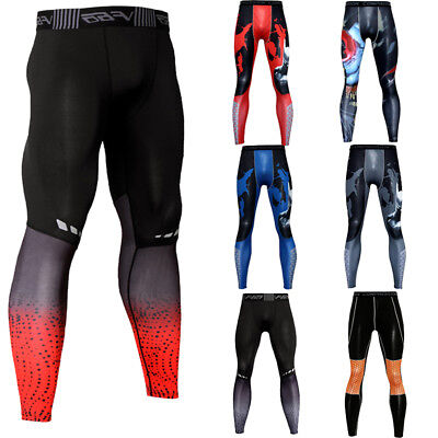 Men's Fitness Compression  Running Gym Dri fit Under Base Layer Tights Printed