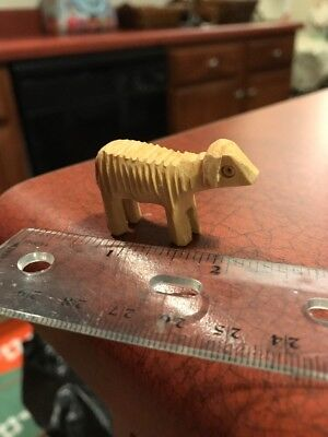 """Handmade Carved Light Wood Baby Lamb 1"""" Rustic Primitive Figure FREE SHIPPING"""