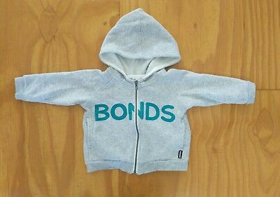 Bonds baby hoodie size 00 bonds print zip up jumper winter grey