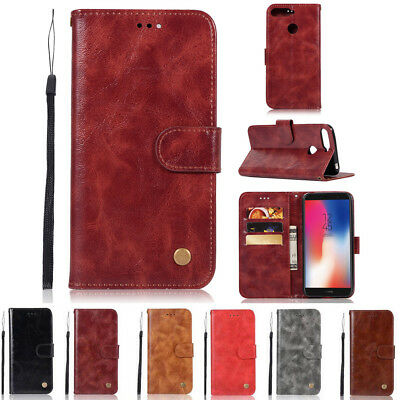 For Huawei Y6 2018 Luxury Magnetic Card Flip Wallet PU Leather Case Stand Cover