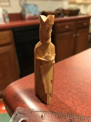"Handmade Carved Wood Folk Art Gaunt Man Offering Food 3"" Figure FREE SHIPPING"