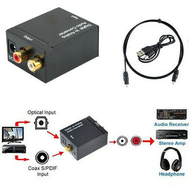 1M Optical Coaxial Toslink Digital to Analog Audio Converter Adapter RCA L/R