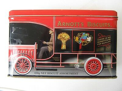 rare limited edition  biscuit tin  arnotts biscuits red truck length 23cm