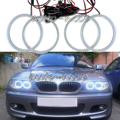 4x For BMW E46 3 Series 2 Door Coupe Headlight White SMD LED Angel Eye Halo Ring