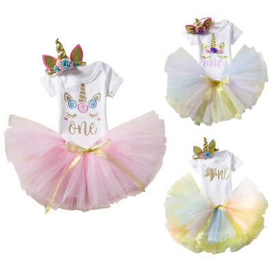 Unicorn Costume Toddler Baby Girl 1st First Birthday Romper + Skirt 3pcs Outfits