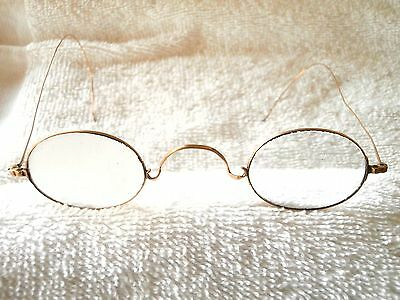 14K Solid Gold Medical Frosted Lens Glasses   In Great Condition!! (1890-1910)