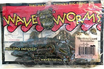 Lot of 2 Wave Worms Tiki-Moko Lizard Watermelon//Red Flake~7count each DISC NOS
