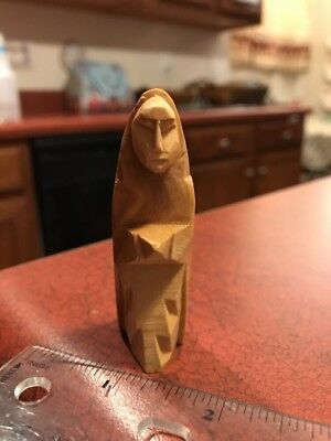 "Carved Wood Handmade Primitive Folk Art Veiled Lady 2.5"" Figure FREE SHIPPING"