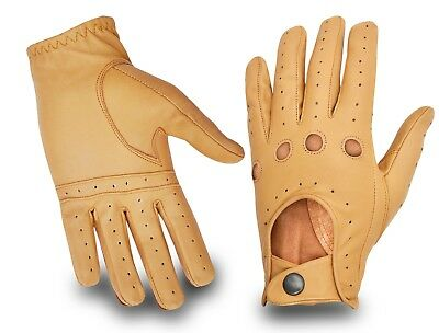 Classic Luxury Mens Real Leather Driving Gloves Slim Fit Chauffeur Car Bus Glove