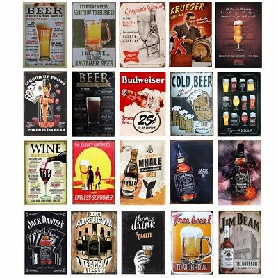30*20cm Beer Rustic Tin Wall Sign Metal Poster Plaque Bar Club Wall Home Decor