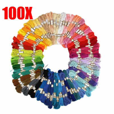 100 X Multi Colors Cross Stitch Cotton Embroidery Thread Floss Sewing Skeins Set