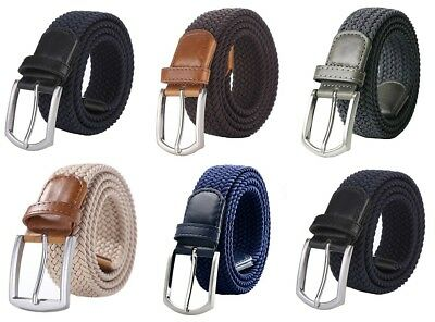 "Weifert Men's Stretch Woven 1.3"" Wide Elastic Braided Belts Alloy Buckle"
