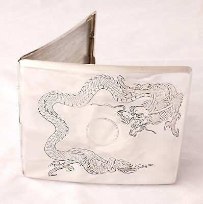 Antique Sterling Silver Chinese Dragon Cigarette Case Holder