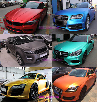 Style - Car Satin Matte Metal Metallic Chrome Vinyl Wrap Sticker Sheet Film HD