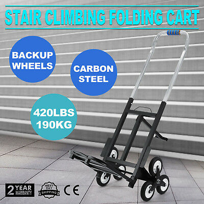Portable Stair Climbing Folding Cart Climb Up To 420lb Backup Wheels Adjustable