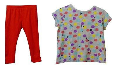 Baby Girls Next Grey Bunny Rabbit T-Shirt Top Red Leggings Set Age 18-24 Months