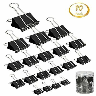 Clip Paper Binder Clips Assorted Size, 90 Pcs Paper Clamp Clips for Paper Letter
