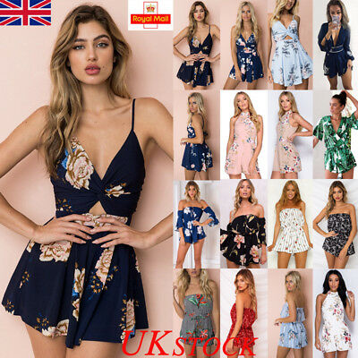 Uk Womens Holiday Mini Playsuit Jumpsuit Ladies Summer Top Beach Dress Size 6-16