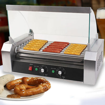 Commercial 18pcs Hotdogs Cooker Machine Hot Dog 7 Roller Grill With Cover Silver