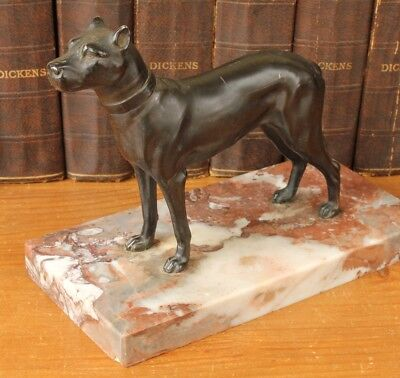 Antique French Art Deco Cane Corso Dog Statue Figure c1930