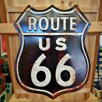 Blechschild Route 66 ca. 50 x 40 cm Garage used look shabby retro NEU