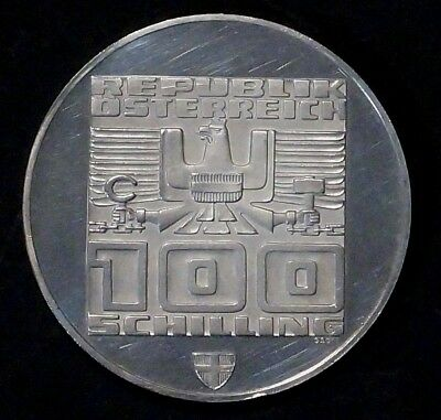 64% SILVER 100 Shilling 1976 AUSTRIA (4th series XII WINTER OLYMPICS INNSBRUCK)