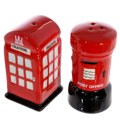 Collectable Novelty Salt and Pepper Set London Post Phone Box Kitchen New