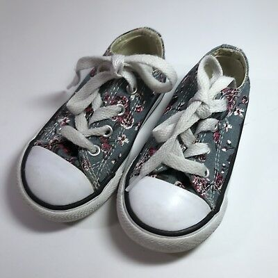 Converse Chuck Taylor All Star Gray Pink Floral Low Top Shoes Kids Toddler Sz 6