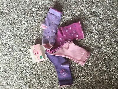 4 pack girls ankle socks purple and pink design BHS soft tights present gift