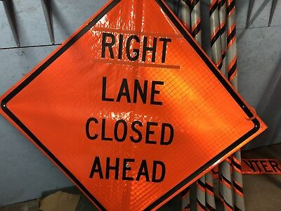 "Right Lane Closed Ahead Reflective Road Sign w/ Ribs 48"" X 48"""