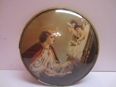 Vtg Convex Round Dome Bubble Glass Religious Catholic Angels Wall Hanging Art