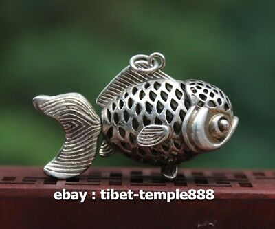 5.5 CM Chinese Tibet Silver Movable joint Goldfish Fish Amulet Pendant Necklace