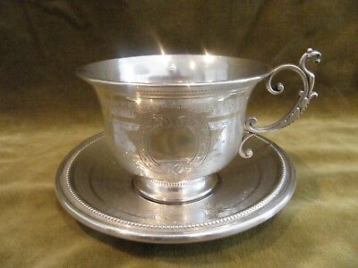 Gorgeous 1840 french sterling guilloche silver tea cup Louis XVI St 164g 5,78oz
