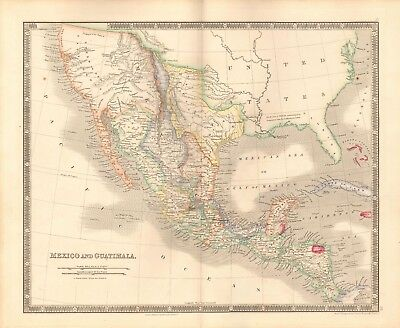 1843 Antique Map- Teesdale/dower - Mexico And Guatemala