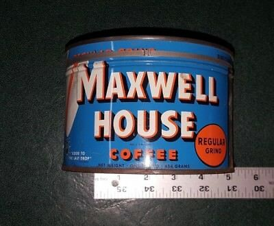 Vintage Maxwell House Coffee Tin - One Pound Size  Vintage Coffee Can