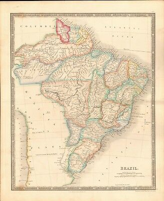 1843 Antique Map- Dower - South America - Brazil