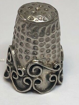 Antique Vintage Ornate Sterling Silver Thimble