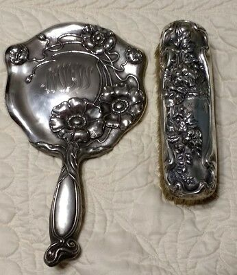 Gorgeous Sterling Silver Antique Vintage Victorian Hand Held Mirror and Brush