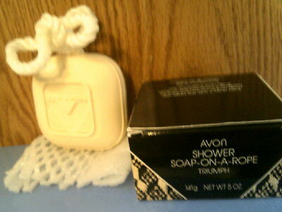 Rhtf- Vtg 1992  Avon Triumph Shower Soap-On-A-Rope -New In Box- Free Shipping