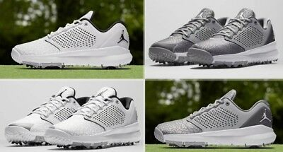 e4040152a53535 Brand New Nike Men s Air Jordan Trainer ST G Golf Shoes AH7747 Grey   White  9