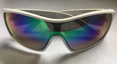 38dffae0e3 New Zoo York Men s Rectangle White Sport Sunglasses With Skull And  Crossbones
