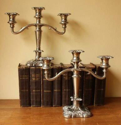 Pair Vintage Silver Plated Rococo Style Three Branch Candelabra. Home Decor.