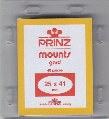 Prinz Black Stamp Mounts 25x41 mm For US Self Adhesive Vertical Scott Pack Of 40