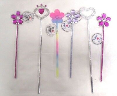 Lot of 6 Pink Poppy Sparkly Wands Flowers Hearts