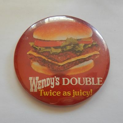 Rare Vtg Wendy's Double Twice As Juicy Hamburger Button Pin Pinback Advertising