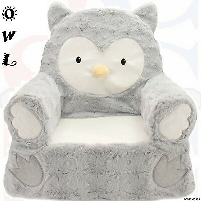 Toddler Plush Owl Chair Soft Comfy Cozy Spot for Child Curl Up / Rest / Nap-Grey
