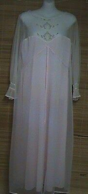 Vintage 1960s Sears Long Nylon Nightgown Embroidery Small 32-24