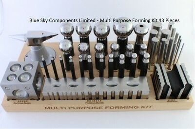 43pc Doming Dapping and Swage Block Set Punches Domes Blocks All On Wooden Base